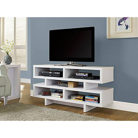 """Monarch Specialties Open-Concept TV Stand For Flat-Screen TVs Up To 48"""", White"""