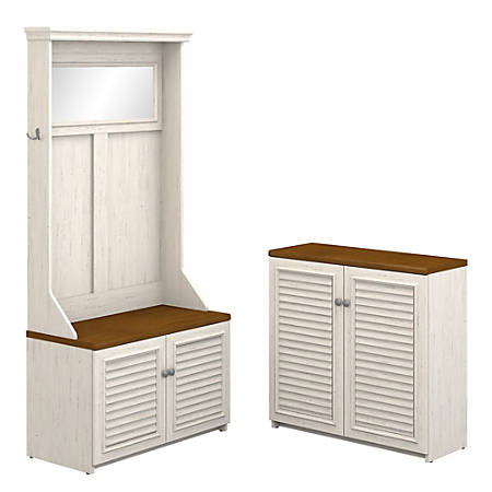 Bush Furniture Fairview Hall Tree With Shoe Bench And Small Storage Cabinet, Antique White/Tea Maple, Standard Delivery