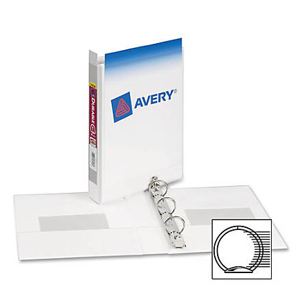 """Avery Durable View Binder for 5-1/2"""" x 8-1/2"""" Pages with 1"""" Gap Free; Round Ring 17116, White"""