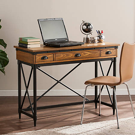 Southern Enterprises Luther Industrial Writing Desk With Keyboard Tray, Salem Antique Oak/Aged Black