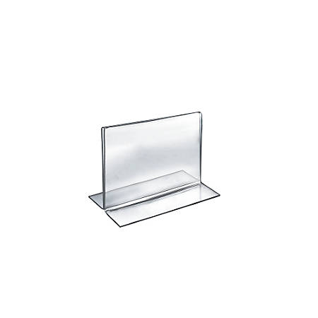 """Azar Displays Double-Foot Acrylic Sign Holders, 5"""" x 6"""", Clear, Pack Of 10"""