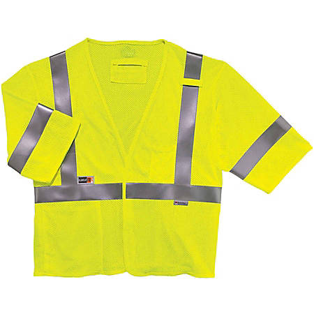 Ergodyne GloWear Flame-Resistant Hi-Vis Safety Vest, Type-R Class 3, XX-Large/3X Lime