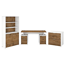 "Bush Business Furniture Jamestown 60""W Desk With Storage, File Cabinets And 5-Shelf Bookcase, Fresh Walnut/White, Premium Installation"