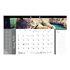 Blueline Cats Monthly Desk Pad Calendar
