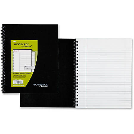 """Mead Wirebound Legal Ruled Business Notebooks - Letter - 96 Sheets - Double Wire Spiral - 20 lb Basis Weight - 8 1/2"""" x 11"""" - White Paper - Black Cover - Linen Cover - Bond Paper, Bleed-free, Perforated - 1Each"""