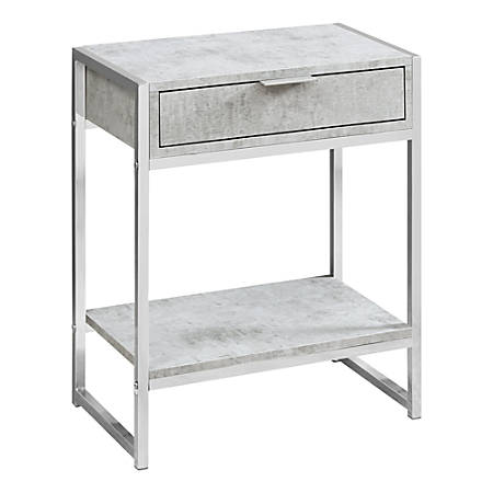 Monarch Specialties Side Accent Table With Shelf, Rectangular, Gray Cement/Chrome