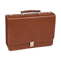 McKlein Lexington Leather Expandable Briefcase Brown