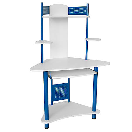 Flash Furniture Corner Computer Desk With Hutch, Blue