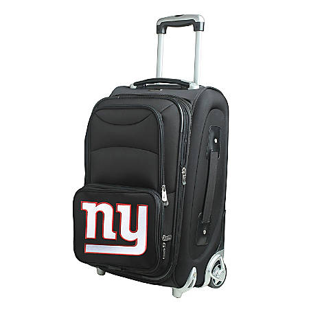 """Denco Nylon Expandable Upright Rolling Carry-On Luggage, 21""""H x 13""""W x 9""""D, New York Giants, Black"""