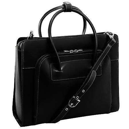 McKlein Lake Forest Italian Leather Briefcase, Black