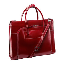 McKlein Lake Forest Italian Leather Briefcase, Red