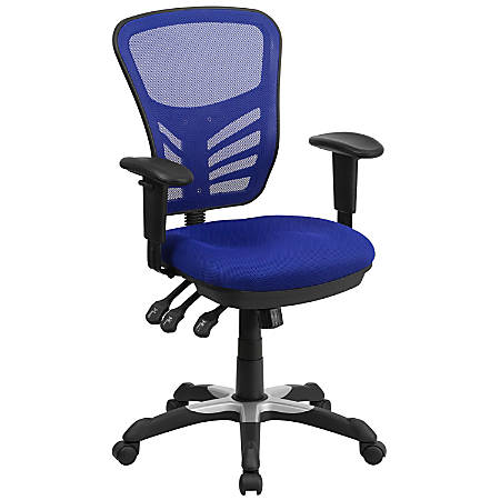 Flash Furniture Mesh Mid-Back Swivel Task Chair, Blue/Black