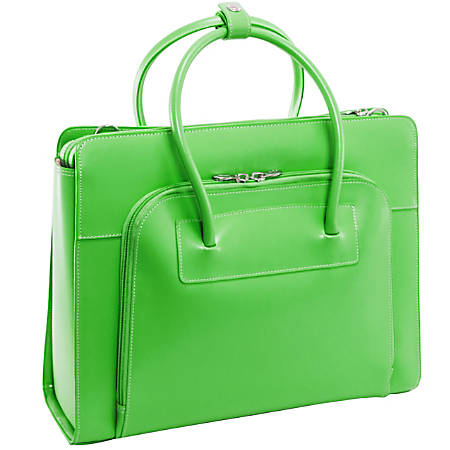 McKlein Lake Forest Italian Leather Briefcase, Green