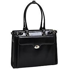 McKlein Winnetka Italian Leather Briefcase Black