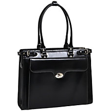 McKlein Winnetka Italian Leather Briefcase Black