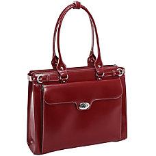 McKlein Winnetka Italian Leather Briefcase Red