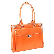 McKlein Winnetka Italian Leather Briefcase Orange