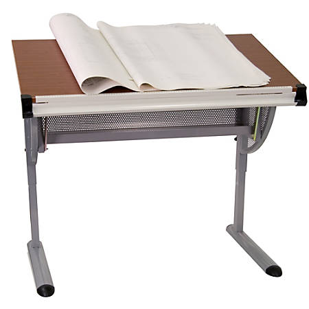 Flash Furniture Adjustable Drawing And Drafting Table, Pewter