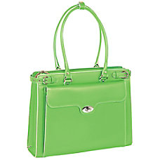 McKlein Winnetka Italian Leather Briefcase Green