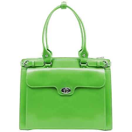 McKlein Winnetka Italian Leather Briefcase, Green