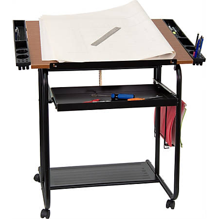 """Flash Furniture Adjustable Drawing And Drafting Table, 31-1/4""""H x 35-1/4""""W x 23-3/4""""D, Cherry/Black"""
