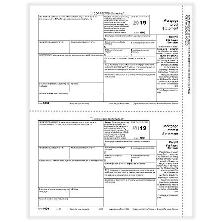 """ComplyRight™ 1098 Tax Forms, Laser, Copy B, 8-1/2"""" x 11"""", Pack Of 50 Forms"""