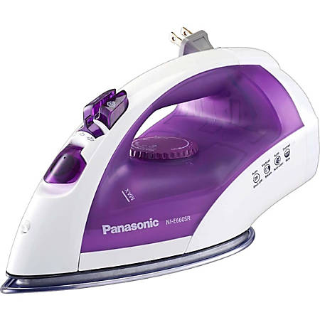 Panasonic Clothes Iron - Yes - Stainless Steel Sole Plate - Yes - 1200 W - White, Purple
