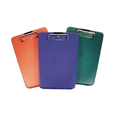 "Saunders® SlimMate Plastic Storage Clipboard, 8 1/2"" x 12"", Assorted Colors"