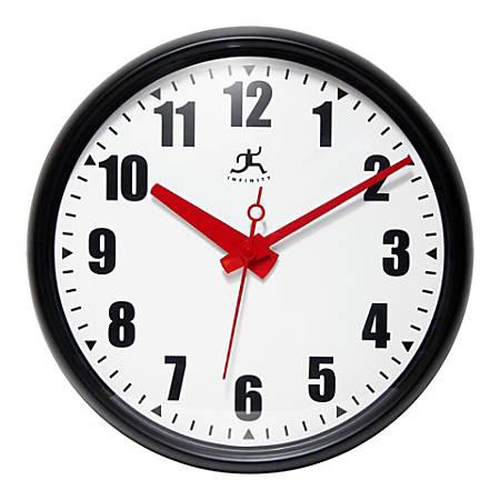 "Infinity Instruments Impact Wall Office Clock, 15""H x 15""W x 2""D, Black"