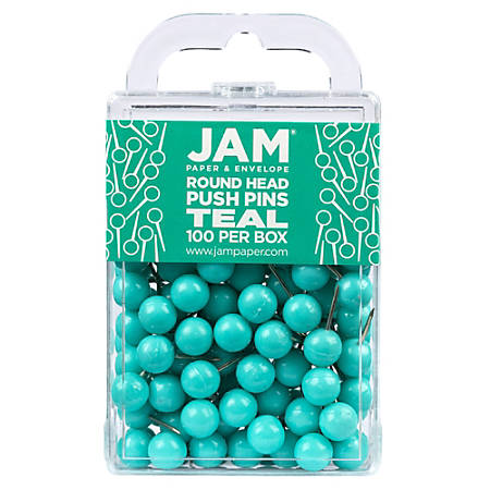 """JAM Paper® Colorful Push Pins, 1/2"""", Teal, Pack Of 100 Push Pins"""