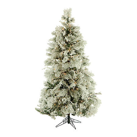 Fraser Flocked Snowy Pine Christmas Tree With Smart String Lighting, 7 1/2', Snow