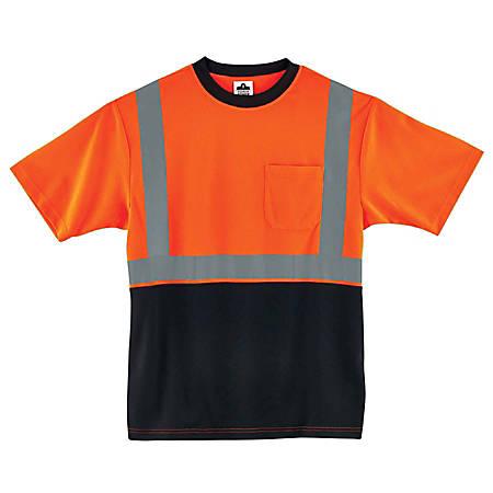 Ergodyne GloWear 8289BK Type-R Class 2 T-Shirt, 4X, Black/Orange