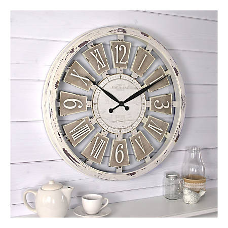 FirsTime & Co.® Antique Plaques Round Wall Clock, Antique White