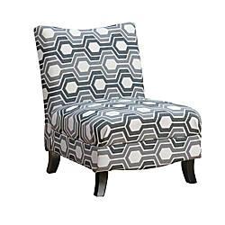 Swell Monarch Specialties Slipper Accent Chair Gray Geometric Black Item 6392789 Machost Co Dining Chair Design Ideas Machostcouk