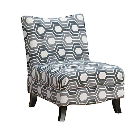 Monarch Specialties Slipper Accent Chair, Gray Geometric/Black