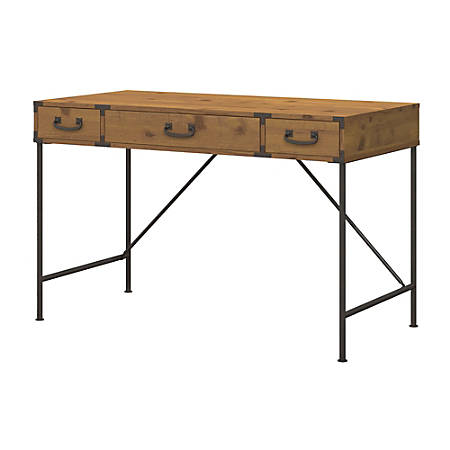 kathy ireland® Office by Bush Furniture Ironworks Writing Desk, Vintage Golden Pine, Standard Delivery
