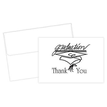 "Great Papers!® Thank You Cards For Graduation, 4 7/8"" x 3 3/8"", Black/White, Pack Of 20"