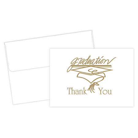 """Great Papers!® Thank You Cards For Graduation, 4 7/8"""" x 3 3/8"""", Gold/White, Pack Of 20"""