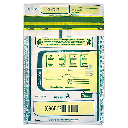 "Control Group Tamper-Evident Deposit Bags, 9"" x 12"", Clear, Pack Of 100"