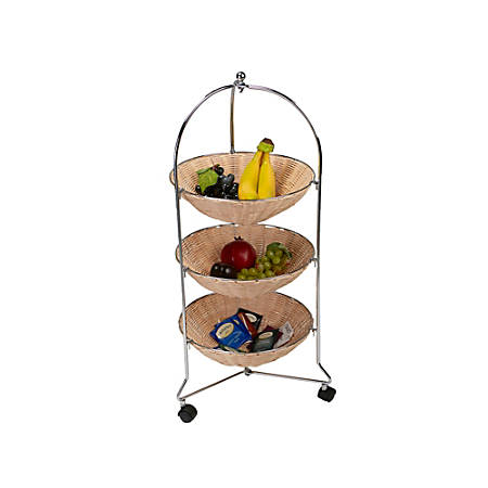 Mind Reader 3-Tier Stainless-Steel Rolling Cart With Round Straw Baskets, Brown