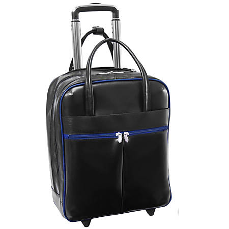 """McKleinUSA Volo L Series Leather Laptop Overnighter Wheeled Carry-On Bag With 15.6"""" Laptop Pocket, Black/Navy Trim"""