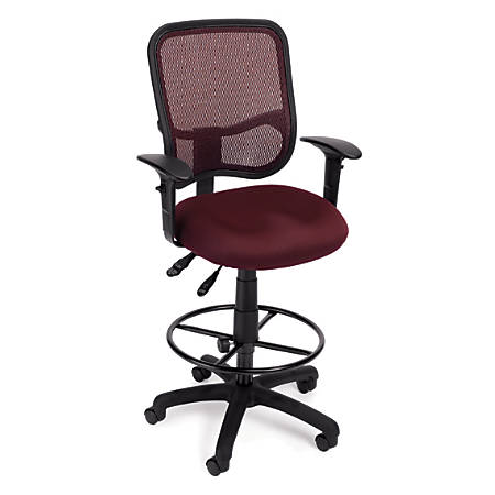 OFM Mesh Comfort Series Ergonomic Fabric Task Chair With Arms And Drafting Kit, Wine/Black
