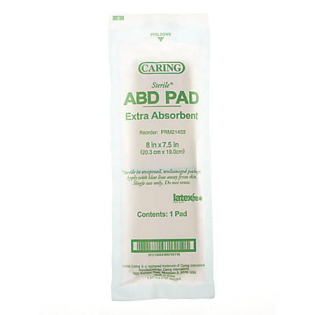 "Caring Non-Sterile Abdominal Pads, 8"" x 7 1/2"", Case Of 240"