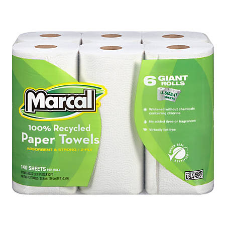 Marcal® 100% Recycled 2-Ply Quilted Roll Paper Towels, White, 140 Sheets Per Roll, Case Of 24 Rolls