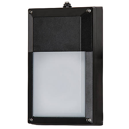 Luminance LED Exterior Wall Mount Fixture With Photocell, 9 Watts, 4000K/Cool White, 850 Lumen, Black/Frosted Lens