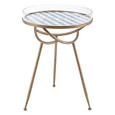 Zuo Modern Lattice Table Round BlueBrass