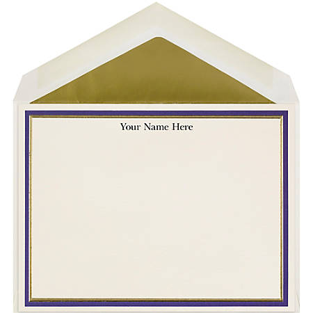 "The Occasions Group Stationery Note Cards, 4 1/2"" x 6 1/4""W, Flat, Midnight Gold Double Border, Ecru Matte, Box Of 25"