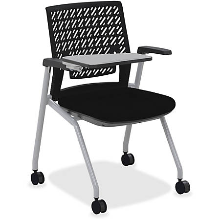 Mayline® Thesis Flex Back Stackable Chair With Tablet Surface, Black/Gray, Set Of 2