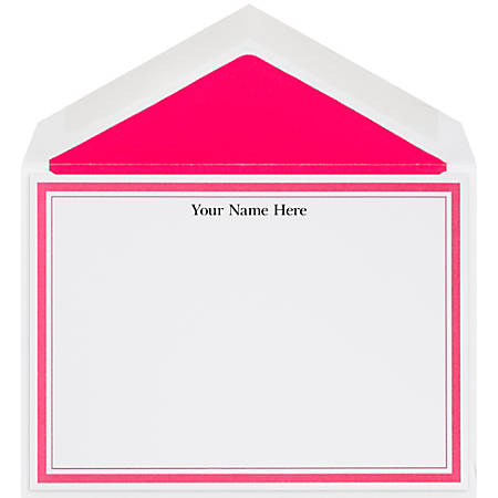 "The Occasions Group Stationery Note Cards, 4 1/2"" x 6 1/4""W, Flat, Hot Pink Double Border, White Matte, Box Of 25"
