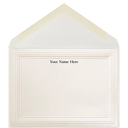 "The Occasions Group Stationery Note Cards, 4 1/2"" x 6 1/4""W, Folded, 3-Step Embossed Panel, Ecru Matte, Box Of 25"